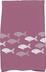 """E by Design Fish Line 厨房毛巾 紫色 16"""" x 25"""" KTAN424PU5PU14"""