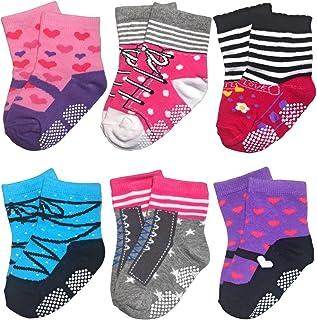 带防滑袜的学步女童男童婴儿袜,12-24 个月的*佳礼物 6 双防滑袜