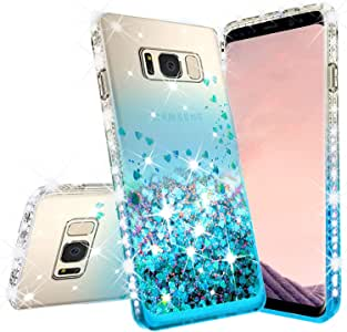 [GW USA] 三星 Galaxy S7 Edge 手机壳液体闪耀防震手机壳瀑布浮动快沙闪耀可爱保护女孩女士盖适用于 Galaxy S7 Edge - 蓝*