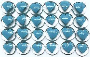 心形 - 一套 24 件手绘玻璃宝石;派对用品、派对用品、婚礼、装饰、回忆等...您可以选择颜色! 浅蓝色 Gem24-HeartsPink