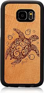 S7 手机壳,Galaxy S7 手机壳,JuBeCo 木质纤薄手机壳+TPU 缓冲三星 Galaxy S7b-001 sea turtle cherry