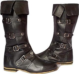 AnNafi 中世纪皮靴 4 个扣环   文艺复兴灵感乐福靴   万圣节加勒比海盗服装靴   复活维京男鞋   SCA LARP 角色扮演服装靴   长靴