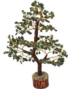 FASHIONZAADI 天然修复金钱 Bonsai Tree 好运 Feng Shui 桌子 家居装饰 Chakra 平衡石水晶 能量 尺寸 25.4-30.48 厘米 Green Aventurine (Golden Wire) B07F71RLSX
