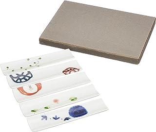 筷架 白色 13cm 波佐见烧 一峰窑 变色 细长 筷子 放置珍味 5件装 57102 5件装