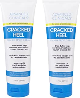Advanced Clinicals 裂纹脚跟霜,适用于干脚、粗糙点和茧状。 Two - 8oz