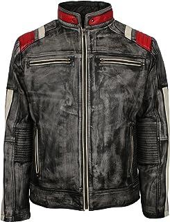 男士仿旧绗缝条纹设计师灰色打蜡摩托车皮夹克