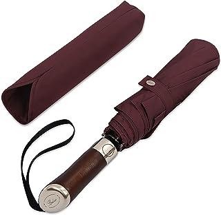Balios(英国设计旅行伞 | 奢华金色红木手柄 | 自动开合/关闭 | 防风框架 | 单伞 | 自动折叠伞 | 男式和女式