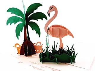 iGifts and Cards Flamingo 3D 弹出式贺卡 - Wading Bird, Pink Presents, Palm Tree, Relax, Fun, 半折叠, Just Because Thank You, Happy...