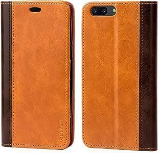 Oneplus 5 手机壳,Mulbess BookStyle 皮革钱包手机壳带支架适用于 Oneplus 5,棕色 棕色