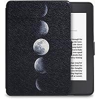 WALNEW 适配 Kindle Paperwhite保护套(一代、二代、三代通用) KPW3皮套 亚马逊电子书阅读器保护壳 Kindle paperwhite3休眠壳 轻薄蚕丝款 黑色底壳系列(内附贴膜套装) KPDY 月食