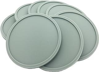 灰色硅胶杯垫 - 8 件套,圆形,可堆叠