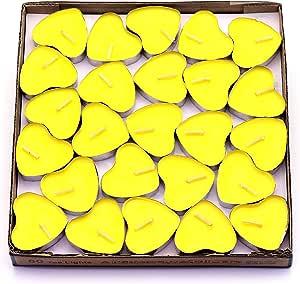CREATIONTOP 香薰蜡烛茶灯迷你心形家居装饰芳香蜡烛 50 只装迷你蜡烛 Yellow(lemon)