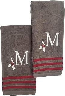 Winter Wonderland 圣诞节刺绣 M 号交织字母手巾套装,2 件