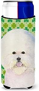 Caroline's Treasures SS4457-Parent Bichon Frise St. Patrick's Day 三叶草肖像超饮料保温器适用于纤薄罐 SS4457MUK,多色 多种颜色 Slim SS4457MUK
