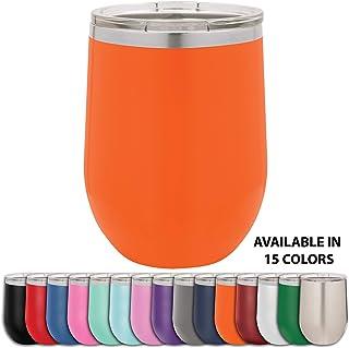 Clear Water Home Goods - 340.19 克不锈钢酒杯带盖,无高脚真空保温双层壁 18/8,粉末涂层 橙色