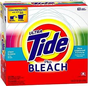 Tide Ultra Plus 漂白清香洗衣粉洗衣液,63 瓶装,144 盎司