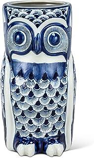 Abbott 系列 27-INDIGO-148 Lg 蓝色/Wht Owl 伞架 - 15 H,白色和蓝色
