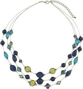 """COIRIS 3 层幻觉线宣言项链 女式蓝绿色串珠 (N0005) N0005 19.5"""" N0005"""