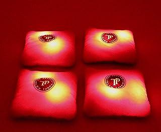 Top Percent 发光抛光沙包带 LED - 规定尺寸和重量 - 4 件套双面(棒状和丝滑)豆袋,家人和朋友的后院乐趣(红色)