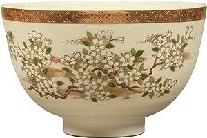 宫地英香 抹茶碗 白色 尺寸:直径12.6x高7.8cm 萨摩写 樱花 化妆盒