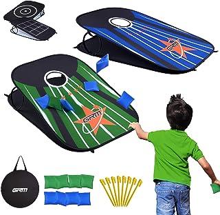 沙包游戏套装可折叠便携式户外游戏板 8 个沙包豆袋投掷游戏套装 3 x 2 英尺,适合儿童,成人