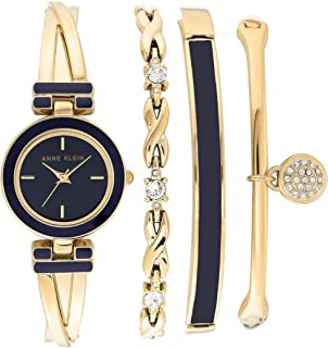 Anne Klein Women's Swarovski Crystal Accented Gold-Tone Bangle Watch and Bracelet Set, AK/3284NVST