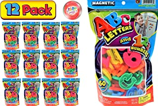 JA-RU ABC 磁性字母和数字派对礼品套装(包装)学习字母*佳字母磁铁适用于冰箱娱乐和拼写游戏玩具 1405- 12 包 Mix Bag