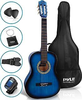 Beginner 91.44 厘米经典原声吉他 - 6 弦青少年椴木吉他,带木镖板、吉吉他包、调谐器、尼龙弦、拨片、挂绳,适合初学者、儿童成人 - Pyle PGACLS82BLU(Blue Burst)