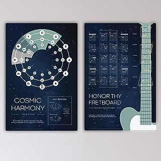 """iVideosongs 2 张海报吉他墙艺术包""""宇宙和谐""""与""""*Thy 指板"""" • 音乐室装饰(60.96 厘米 x 91.44 厘米)• 五分之一和吉他和弦 • 高品质,紫外线涂层,100#海报纸 • 送给歌手、音乐家和老师的完美礼物 • 免..."""