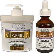 Advanced Clinicals 维生素 C 护肤套装,适合面部和身体。 Spa Size 16盎司维生素 C 面霜和维生素 C 面部精华,短短短短 4 周内即可提供黑斑、老年斑、肤色不均匀!