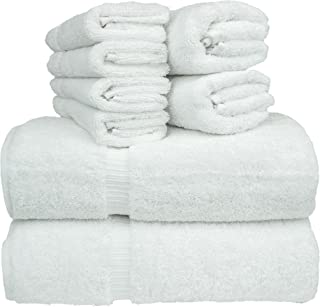 Chakir Turkish Linen 8-Piece Turkish Cotton Towel Set with 2 Bath Towel (27-Inch-by-54-Inch), 2 Hand Towel (16-Inch-by-30-Inch) and 4 Washcloth (13-Inch-by-13-Inch), White