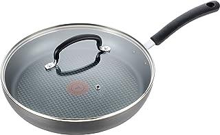 T-fal 钛不粘炊具,带盖煎锅,可用于洗碗机,黑色,10英寸(约25.4厘米)