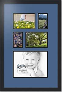 ArtToFrames 字母照片相框,带 1-8.5x11 和 2-3x5,5x7 开口。 黑色缎面镜框 皇家蓝 1-8.5x11 and 2-3x4, 5x7 Double-Multimat-309-836/89-FRBW26079