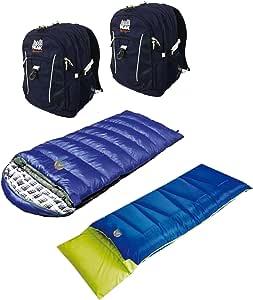 High Peak USA Alpinizmo 2 矢量 38 背包 + 飞行员 0 和 Kodiak 0 睡袋组合,蓝色,均码