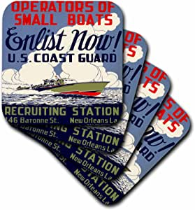 3dRose cst_171435_2 US Coast Guard Operators of Small Boats Enlist Now Recruiting Poster-Soft Coasters, Set of 8