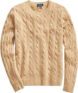 Polo Ralph Lauren 保罗拉夫劳伦女式绞花针织圆领毛衣(XS,基本棕色)