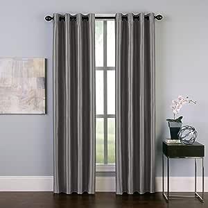 "Curtainworks Malta Faux Silk Grommet Curtain Panel, 50 by 84"", Pewter"