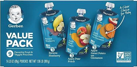 Nestle 果泥量版装(香蕉蓝莓99g*3+苹果香梨蜜桃99g*3+苹果甜薯肉桂99g*3) 四段12个月以上