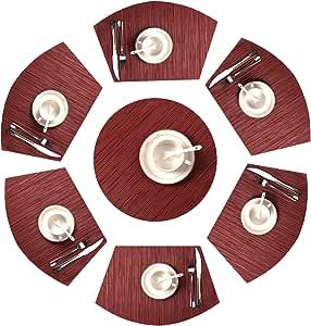 Place Mat,U'Artlines 椭圆形/圆形十字架编织乙烯基餐垫 6 件套 *红色 Set of 7