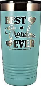 "GRANDMA 礼物 - ""BEST GRANDMA EVER ~ LOVE YOU ALWAYS""不锈钢真空隔热玻璃杯旅行咖啡杯 GK Grand 设计和雕刻生日母亲节圣诞节 Pastel Teal 20oz"