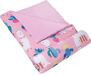 Wildkin 儿童睡袋 适合男孩和女孩 适合派对、露营和过夜旅行,棉混纺材料睡袋,尺寸为 57 x 30 x 1.5 英寸,不含双酚 A(Llamas & Cactus 粉色)