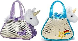 (2 件装优惠装)魔法幻想 7 英寸独角兽花式伙伴,带两个独特的便携式宠物运输玩具