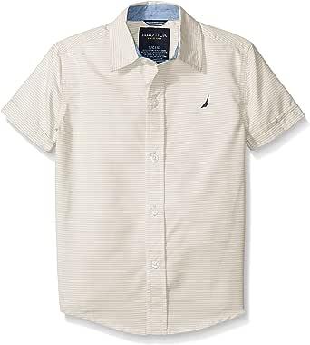 Nautica Boys' Short Sleeve Mini Stripe Shirt Sand Cove Medium