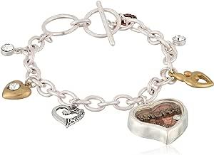 A Heart for Mom 银色和金色吊坠手链,19.05 厘米