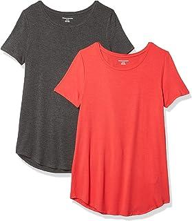 Amazon Essentials 女士标准短袖圆领束腰外衣 2 件装