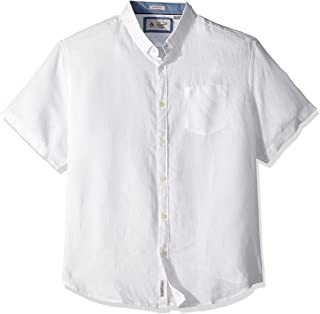 Original Penguin 男式短袖水洗亚麻衬衫