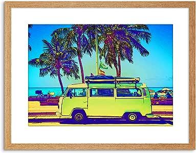 照片成份摄影师范车沙滩画框印画 F97X5397 浅橡木 9 x 7 inc - 23 x 18 cm F97X5397_Light Oak