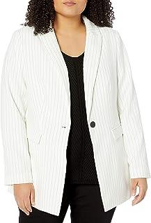 City Chic 女式服装女士加大码长款细条纹夹克,带撞色纽扣