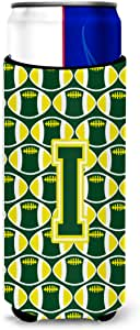 Caroline's Treasures Letter G Football Green and Yellow Tall Boy Koozie Hugger