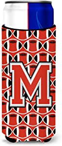 Caroline's Treasures CJ1067-MMUK Letter M Football Scarlet and Grey Michelob Ultra Koozie for slim Cans, Multicolor